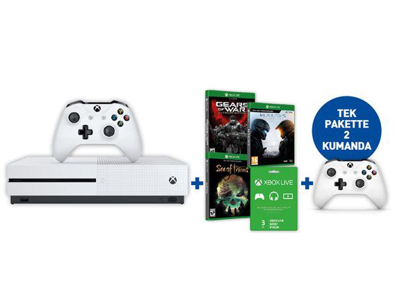 Xbox One S 1TB Konsol + Sea Of Thieves + Gears Of War + Halo 5 +2.Oyun Kolu